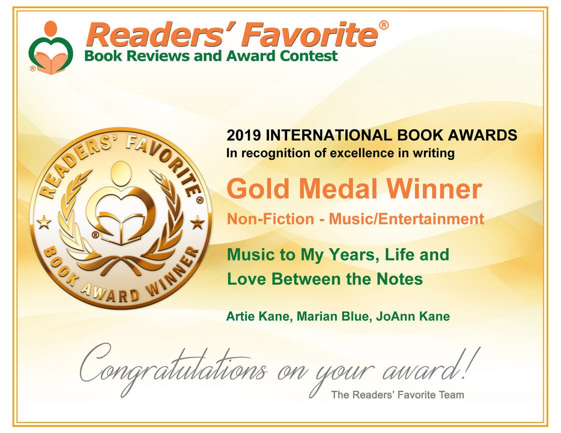 """""""Music to My Years"""" by Artie Kane Wins Readers' Favorite Gold Medal"""
